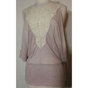 Free People Size S Dolman Sleeve Top Back Keyhole